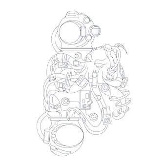 Polvo astronauta desenhado à mão isolado no branco