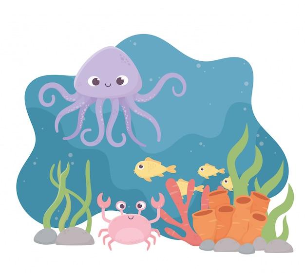 Polvo, carangueijo, peixes, vida, recife coral, caricatura, sob, mar