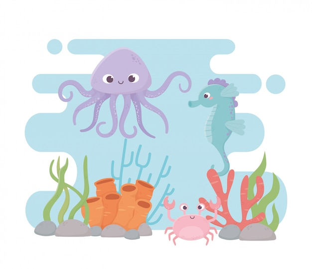 Polvo, cavalo marinho, carangueijo, vida, recife coral, caricatura, sob, mar