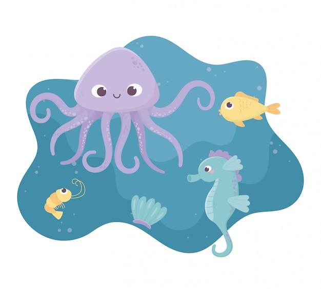 Polvo cavalo marinho peixe camarão e concha vida dos desenhos animados no fundo do mar