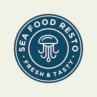 Polvo de frutos do mar para design de logotipo de linha de restaurante