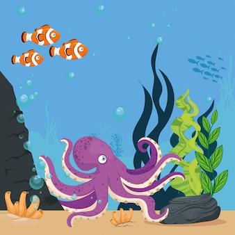 Polvo e animais marinhos no oceano, habitantes do mundo marinho, criaturas subaquáticas fofas, fauna submarina