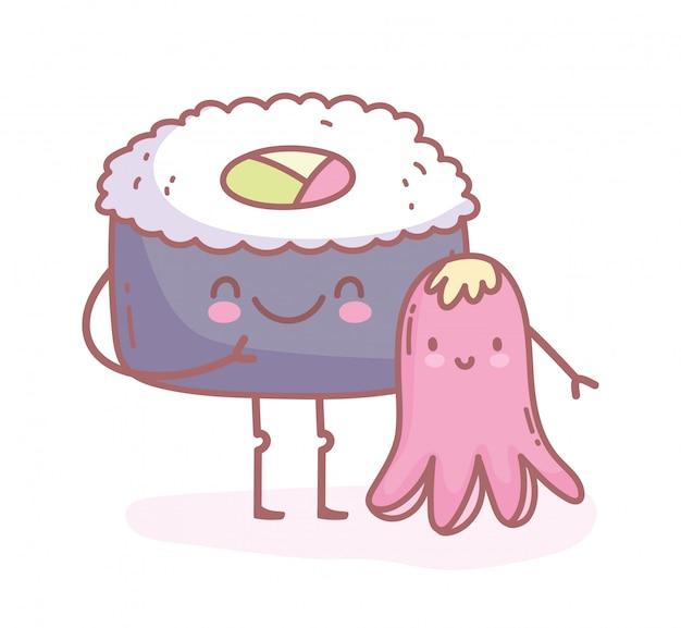 Polvo e sushi feliz cartoon comida fofa