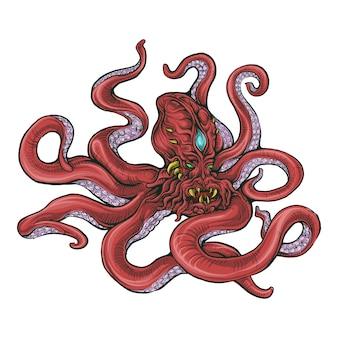 Polvo estilizado em desenho à mão de cor