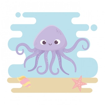 Polvo estrela do mar e concha animais vida cartoon no fundo do mar