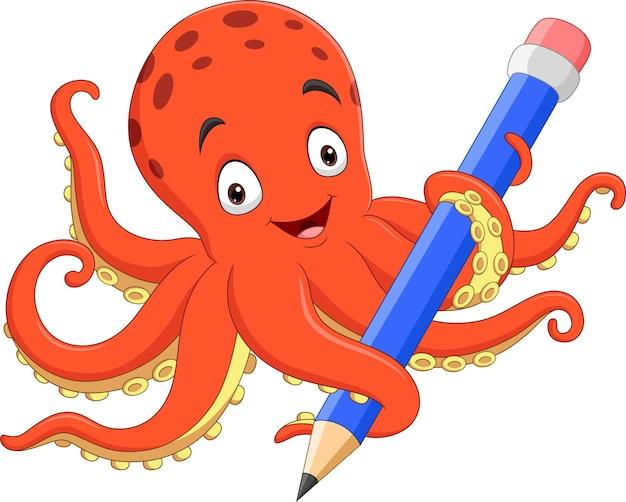 Polvo feliz segurando um lápis