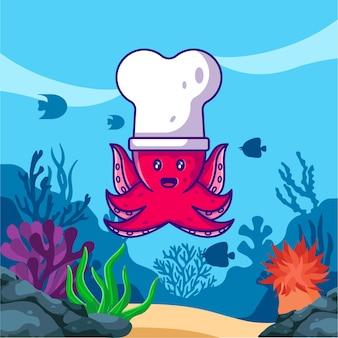 Polvo fofo com chapéu branco de chef no oceano ilustração dos desenhos animados