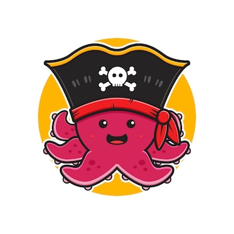 Polvo fofo pirata mascote personagem logotipo cartoon ícone ilustração plana desenho estilo design