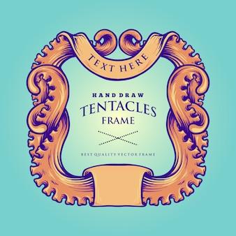 Polvo náutico tentáculos quadro ilustrações vintage