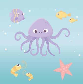 Polvo peixes estrela do mar camarão vida cartoon sob a ilustração vetorial de mar