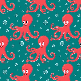 Polvo vermelho sorridente bonito natação subaquática