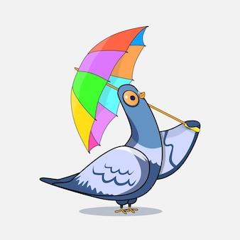 Pomba de desenho animado com guarda-chuva