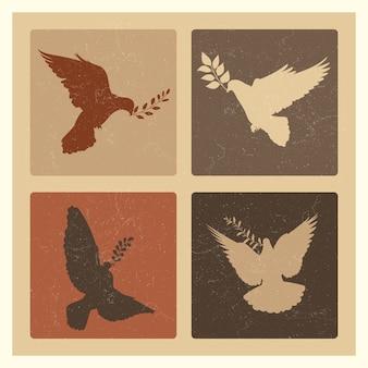 Pomba de emblemas de silhueta de paz