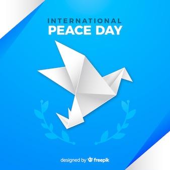 Pomba de origami internacional do dia da paz