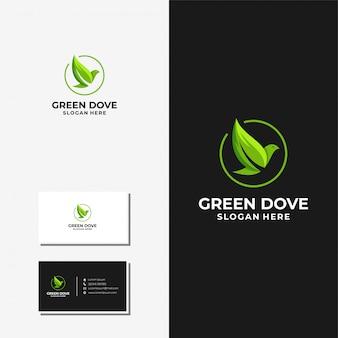 Pomba e folha logotipo e cartão design vector