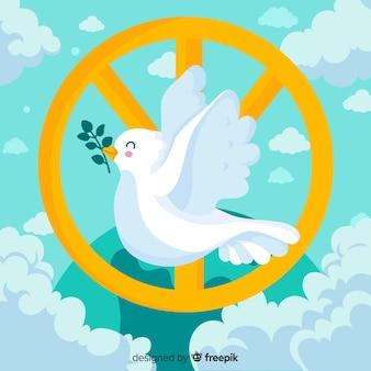 Pomba feliz com sinal do dia da paz