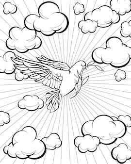 Pomba na página para colorir do céu. história da bíblia. ilustração vetorial.