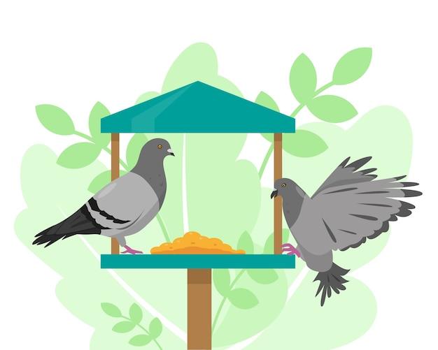 Pombas no alimentador de pássaros. ilustração vetorial