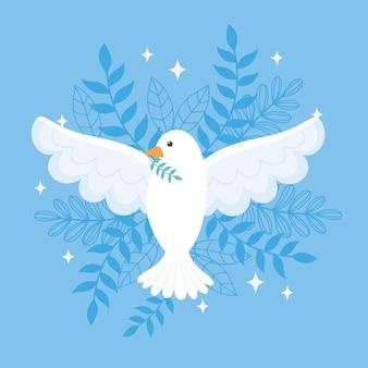 Pombo do dia internacional da paz com ramo folhas ilustração vetorial azul