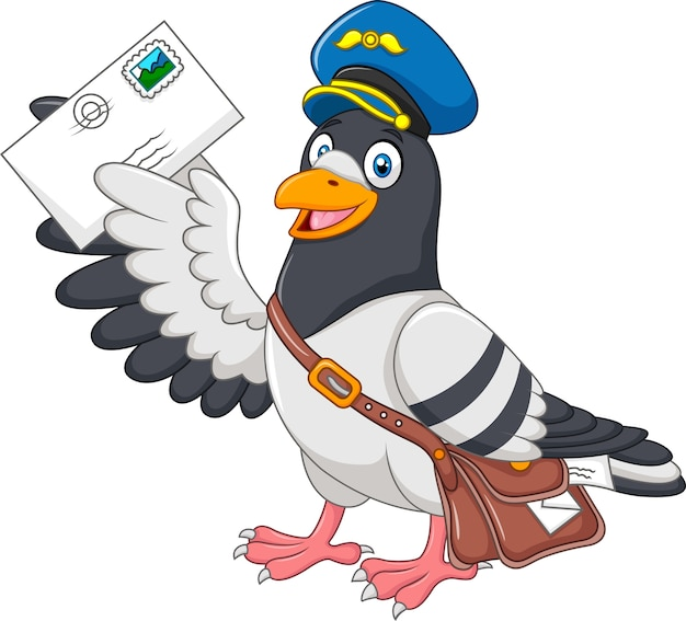 Pombo engraçado dos desenhos animados, entregando a carta