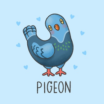 Pombo pássaro dos desenhos animados mão desenhada estilo