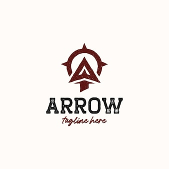 Ponta de seta para arco e flecha arqueiro modelo de logotipo moderno vintage ao ar livre isolado no fundo branco