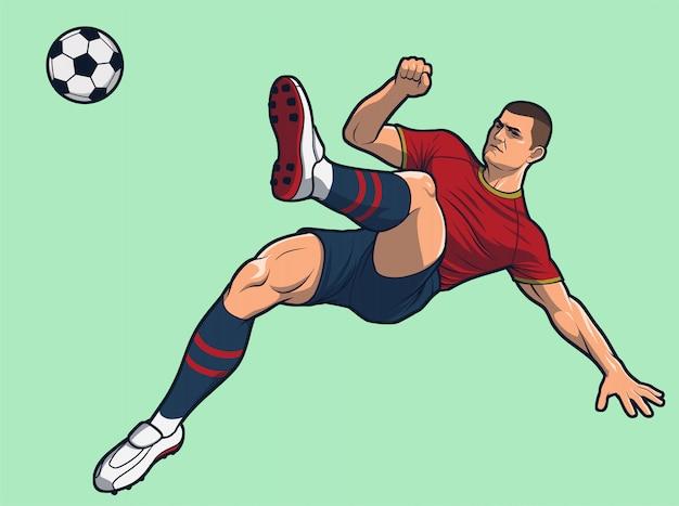 Pontapé aéreo do cambalhota do jogador de futebol.