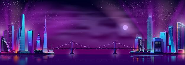 Ponte, conectando, cidade, distritos, caricatura