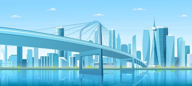 Ponte da cidade sobre a baía de água, no centro da cidade, metrópole futurista, paisagem urbana, fundo