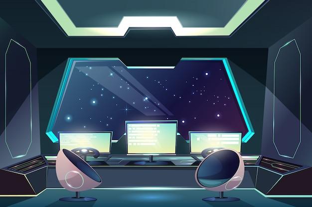 Ponte de capitães de espaçonave futura, desenhos animados interior de posto de comando