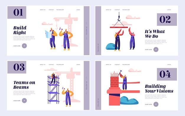 Ponte de engenharia de equipe de construtor com página inicial de conjunto de guindaste de construção. arquiteto com hammer build gate. trabalhador em pé escada edifício objeto site ou página da web. ilustração em vetor plana dos desenhos animados