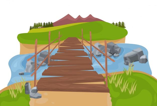 Ponte de madeira sobre a paisagem de montanha do rio