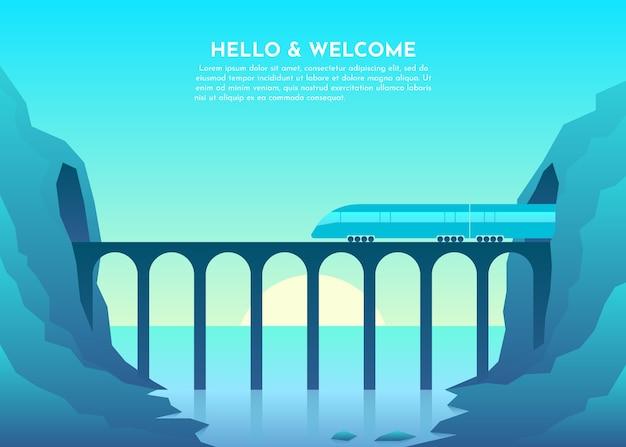 Ponte de transporte sobre o rio, mar, lago, oceano, túnel nas montanhas.