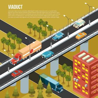 Ponte de viaduto veicular que transporta tráfego pelas ruas movimentadas da cidade da periferia e ilustração vetorial de composição isométrica de vale adjacente