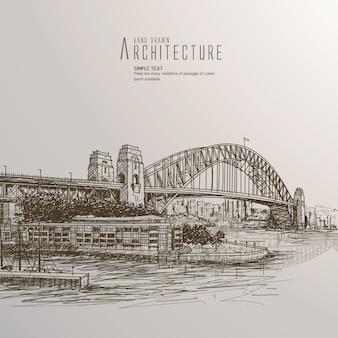 Ponte desenhada à mão do porto de sydney.
