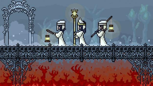 Ponte do inferno da cena de pixel art