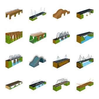 Ponte dos desenhos animados de construção definir ícone. desenhos animados isolados definir ícone rio arco. ponte de construção.