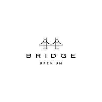 Ponte logotipo ícone ilustração linha contorno monoline