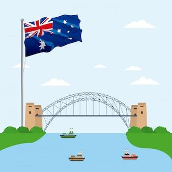 Ponte sobre a água com a bandeira da austrália