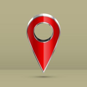 Ponteiro 3d realista do mapa.