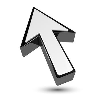 Ponteiro de cursor de seta 3d em preto e branco isolado no branco