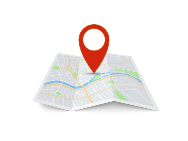 Ponteiro de direção vermelho no mapa da cidade dobrado