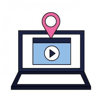 Ponteiro de localização de conteúdo de vídeo de laptop