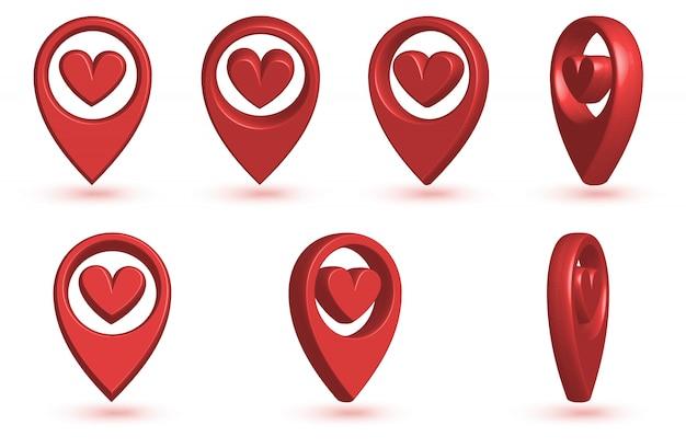 Ponteiro de mapa com o ícone de um coração.