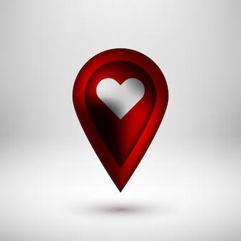 Ponteiro de mapa de bolha vermelha com coração