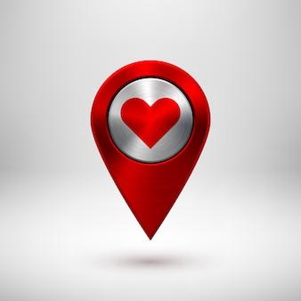 Ponteiro de mapa gps de tecnologia vermelha
