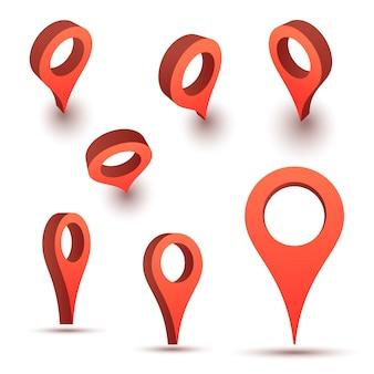 Ponteiro de mapa. símbolos de localização. pino de marca de seta.