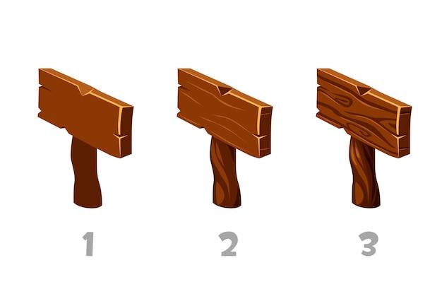 Ponteiro de placa de madeira de ilustração vetorial em isométrico. pranchas de madeira em 3 etapas de desenho.