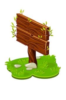 Ponteiro de placa de madeira de vetor em isométrico com ramos. ilustração de um gramado verde com grama.