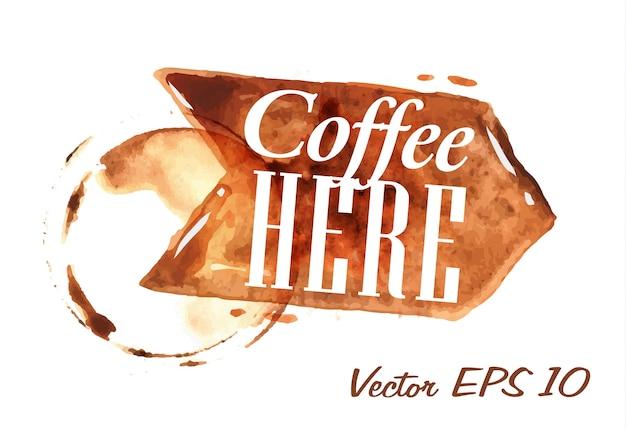 Ponteiro desenhado por café